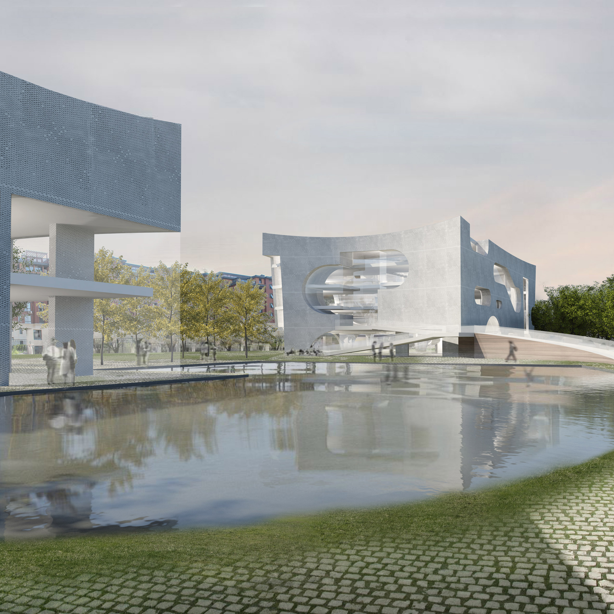 Steven holl 39 s curvy roofed addition to houston arts museum for Home holl