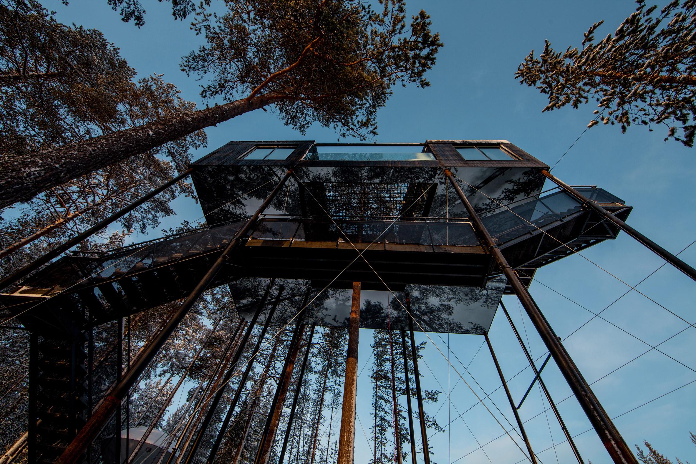 Snøhetta adds treetop cabin with stargazing net to Sweden's Treehotel