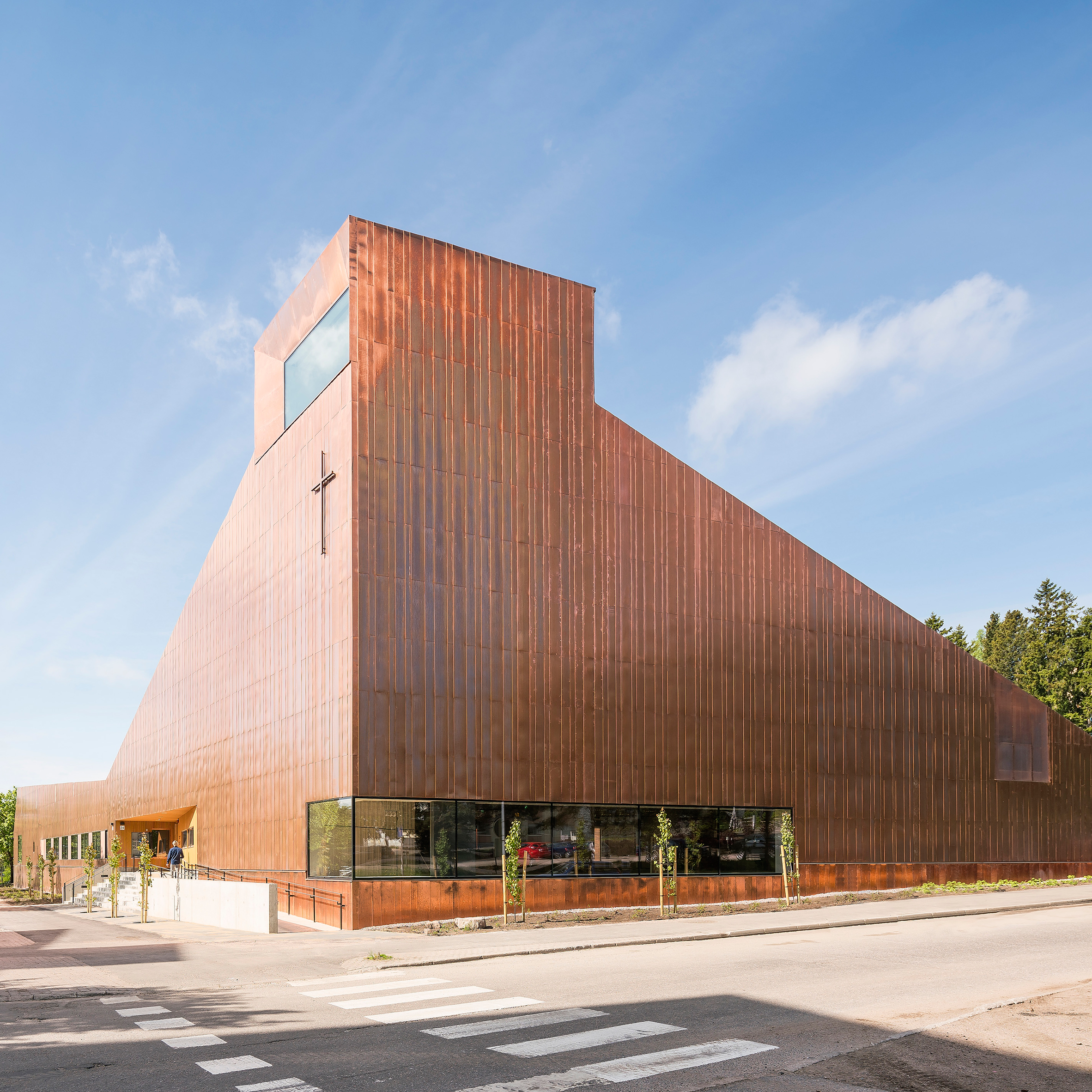 finnish architecture and design dezeen magazine copper covers walls and roof of finnish chapel by oopeaa