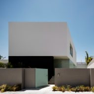 Casablanca house presents closed facade to the street but opens to garden at the rear