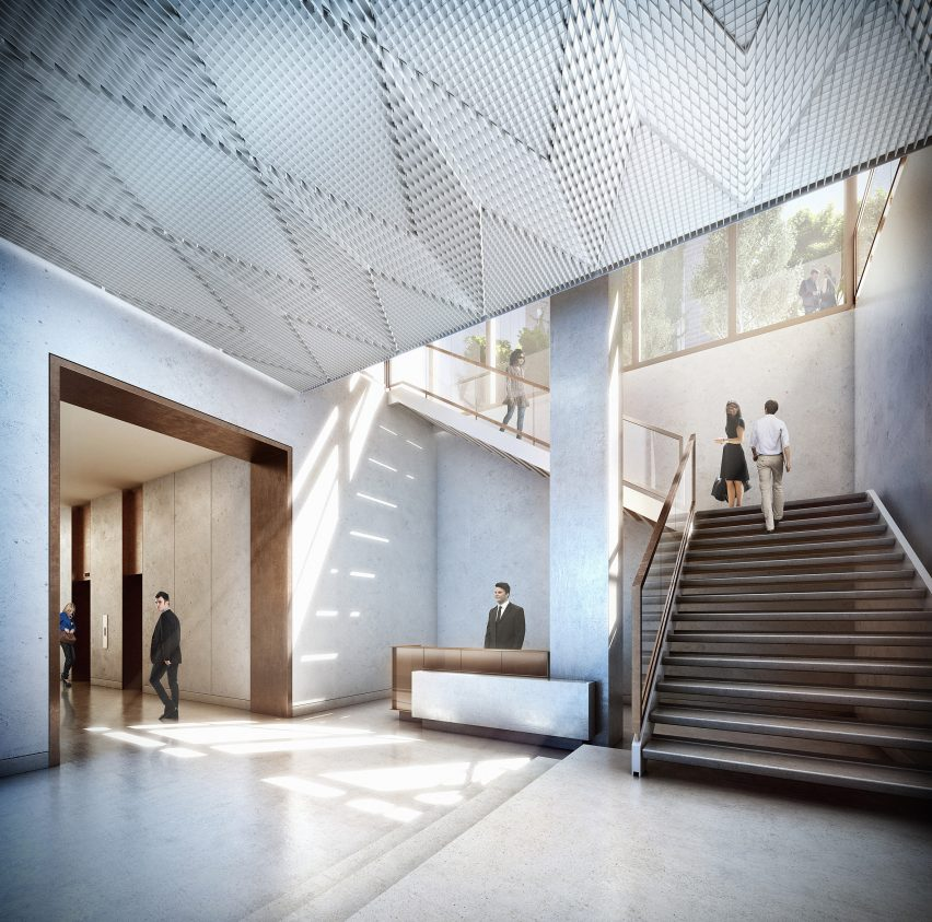 Lobby of Studio Gang's Solar Carve Tower for New York