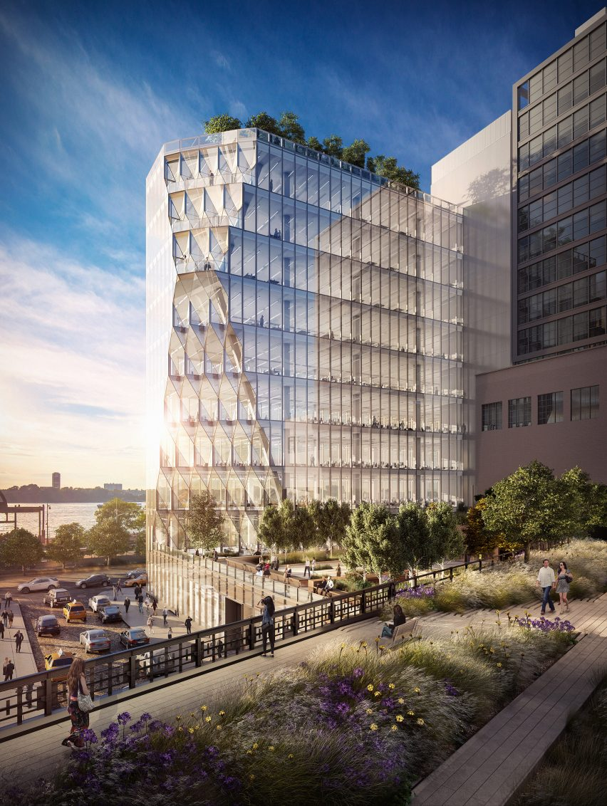 Perspective view of Studio Gang's Solar Carve Tower for New York