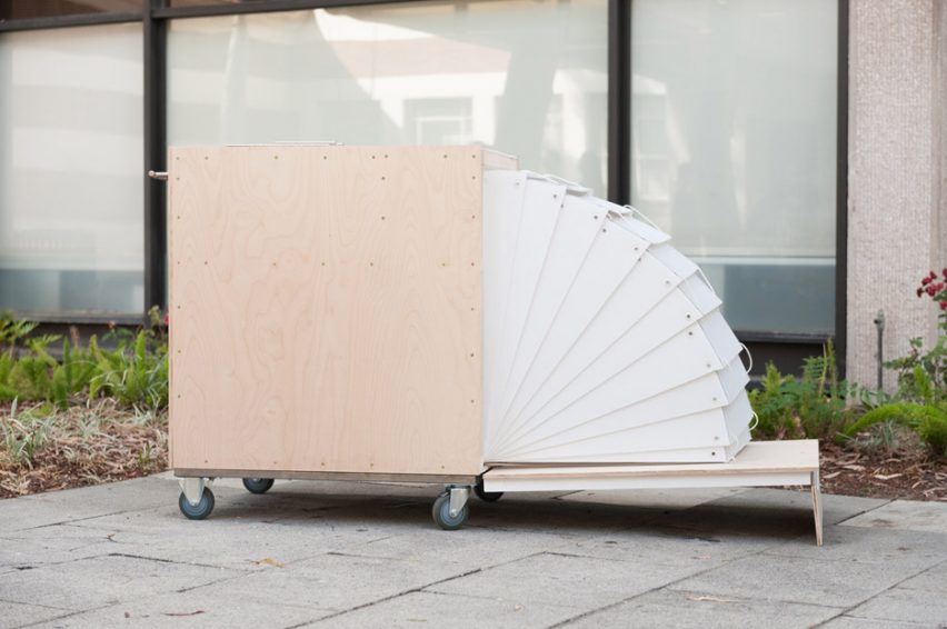 Nomadic shelter Rolly with retractable cover and entry by MADWorkshop and USC Homeless Studio Project