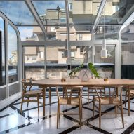 Peart/Weisgerber Residence at Habitat 67 by Moshe Safdie renovated by EMarchitecture Glass Walled Dinning Room 1