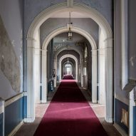Administration Red Carpet Hallway Matt Van der Velde Architecture Abandoned Asylums Interior Jonglez Publishing