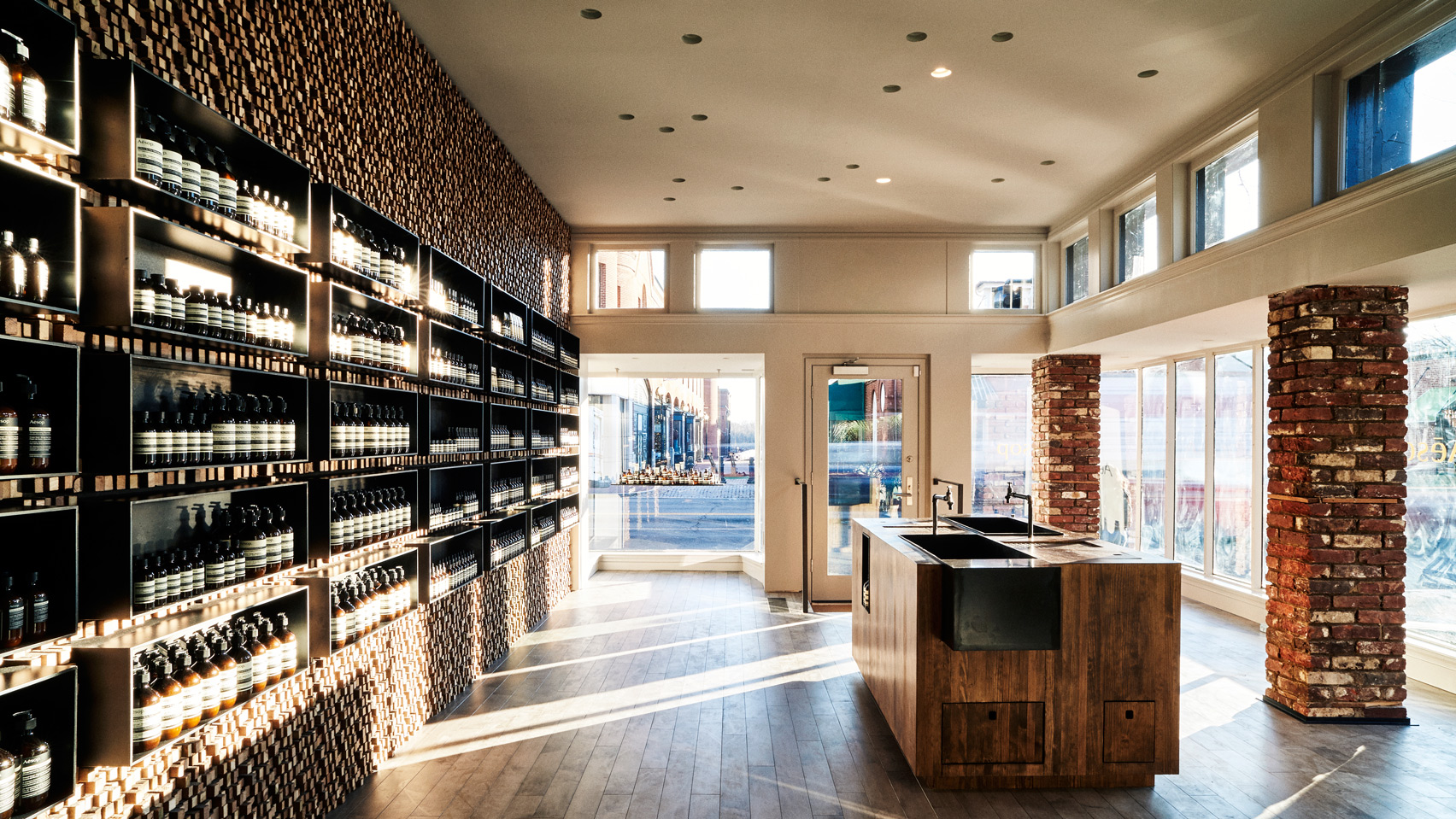30,000 sticks line wall of Aesop Georgetown by Tacklebox