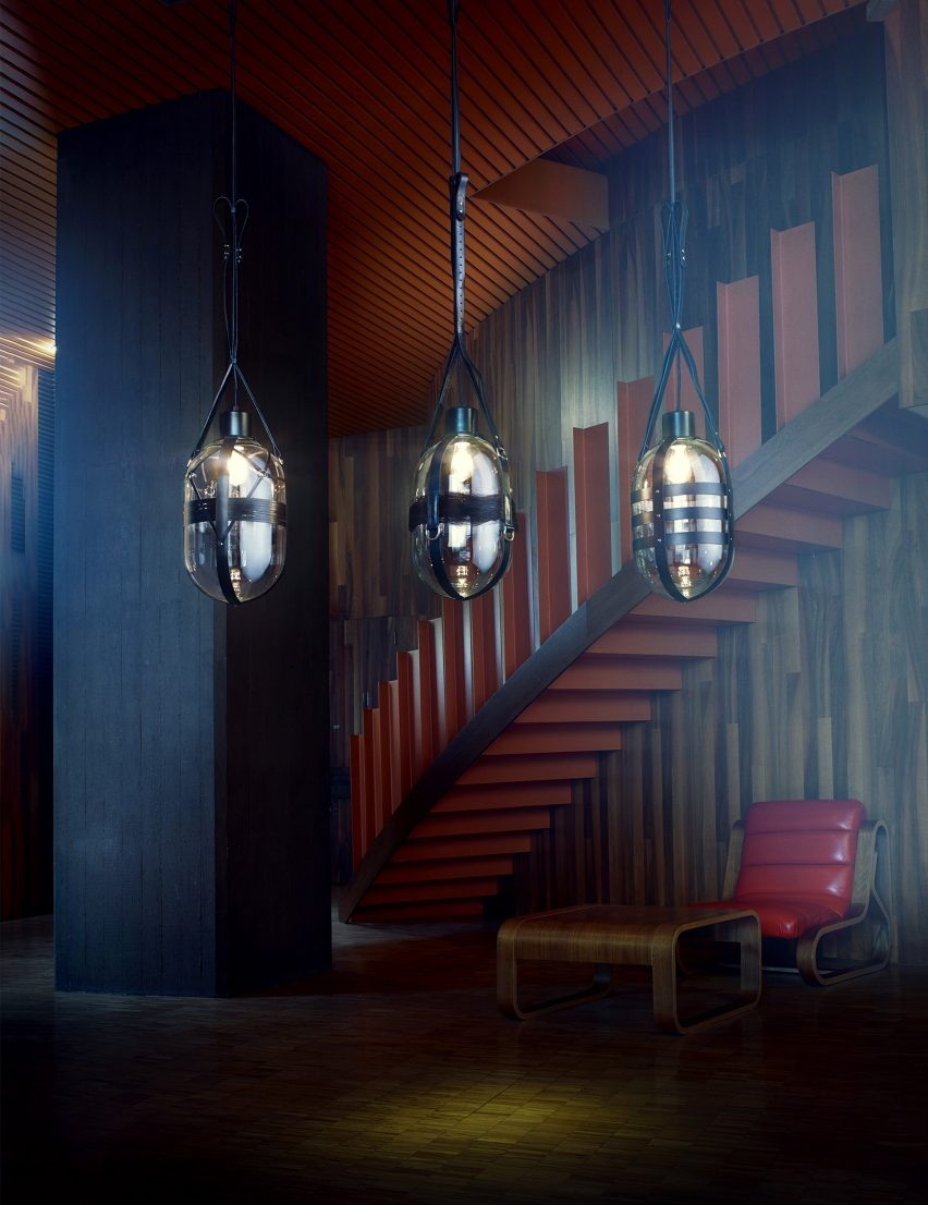 Bomma unveils glass lighting collection by six czech designers leather straps and metal fastenings feature in handlovs bondage style tied up romance light mozeypictures Choice Image