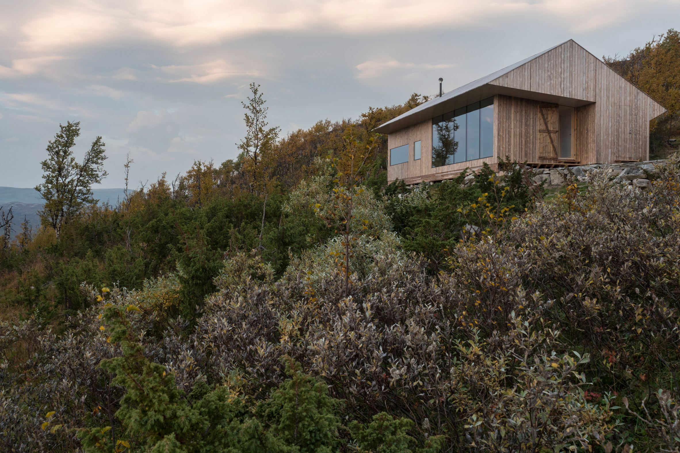Jon Danielsen Aarhus creates pine-clad mountain cabin in Norway for himself