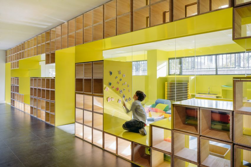 Furniture Design School Simple Walls With Integrated Furniture And Yellow Nooks Encourage Play In . Decorating Design