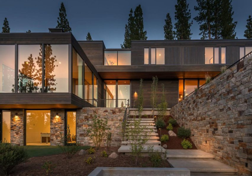 Entry exterior dusk Martis Camp 506 by Blaze Makoi Califronia Holiday Home