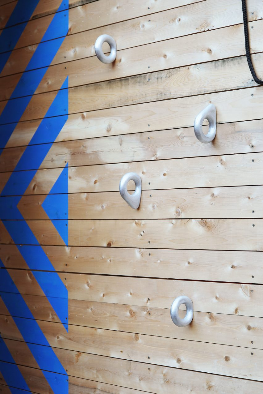 matter design s play equipment encourages kids to crawl jump and fly similarly architectural playground equipment has been completed by asif khan who added an elevated wooden play area to east london primary school