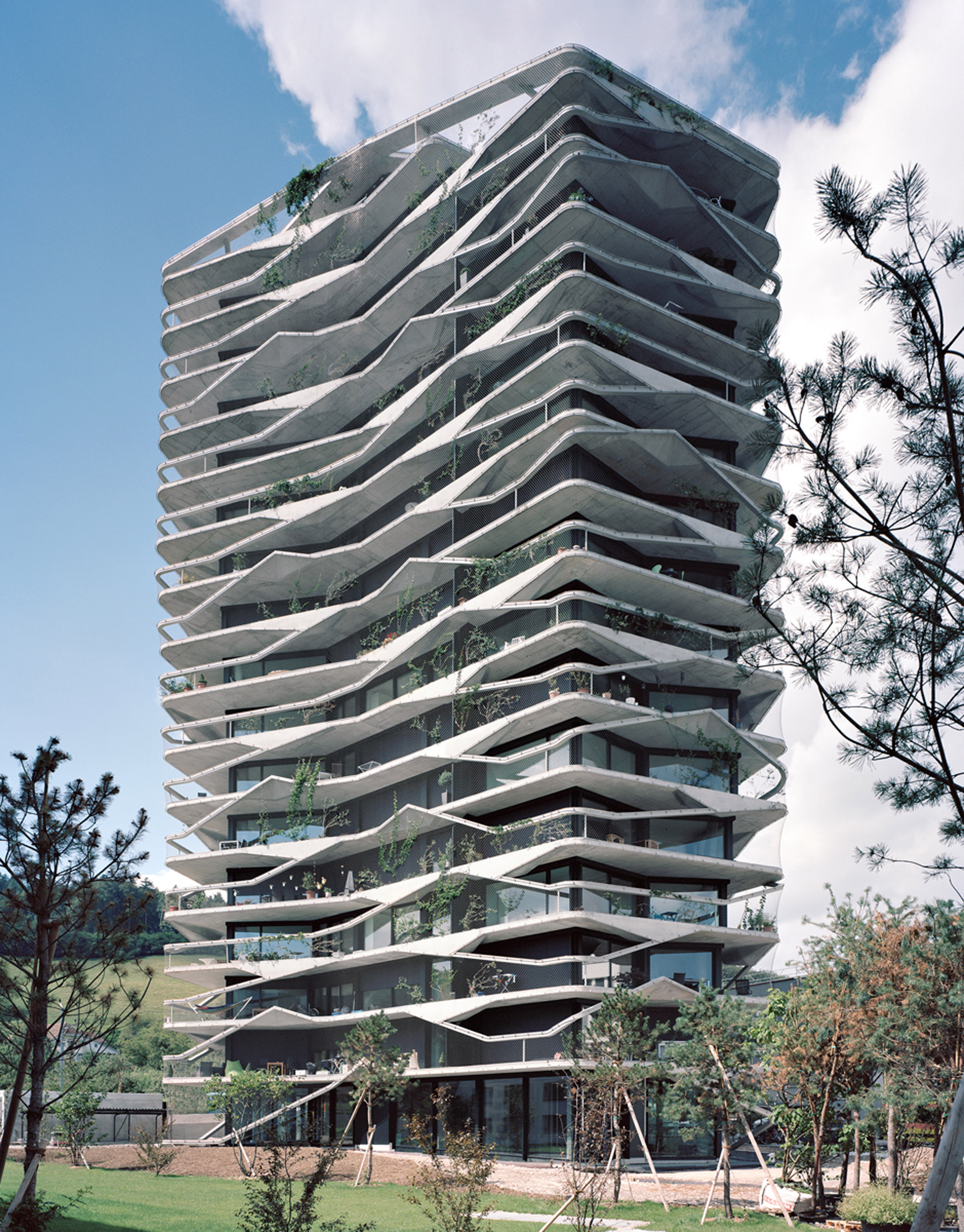 Climbing plants and asymmetric balconies surround Buchner Bründler's Garden Tower