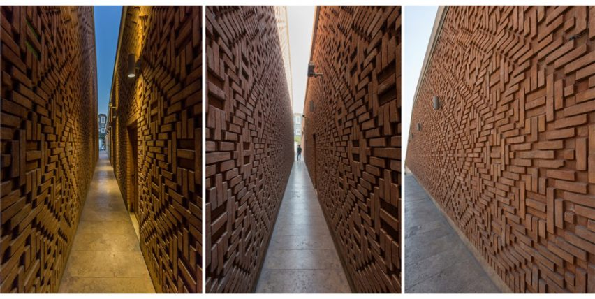 Architizer A+ Awards - Hallway brick detail of Emam Reza Mosque and Cultural Complex by Kalout Architecture Studio