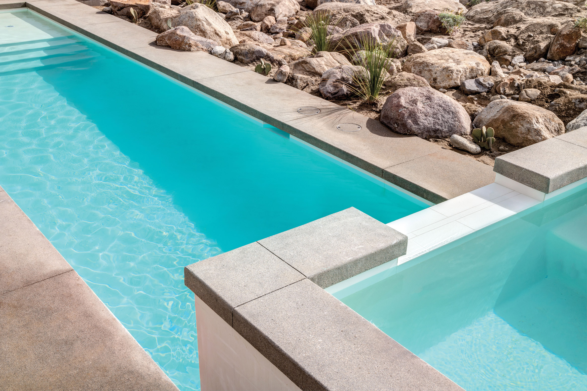 Pool in Palm Springs Chino Canyon home by Lance O'Donnell of o2 Architecture