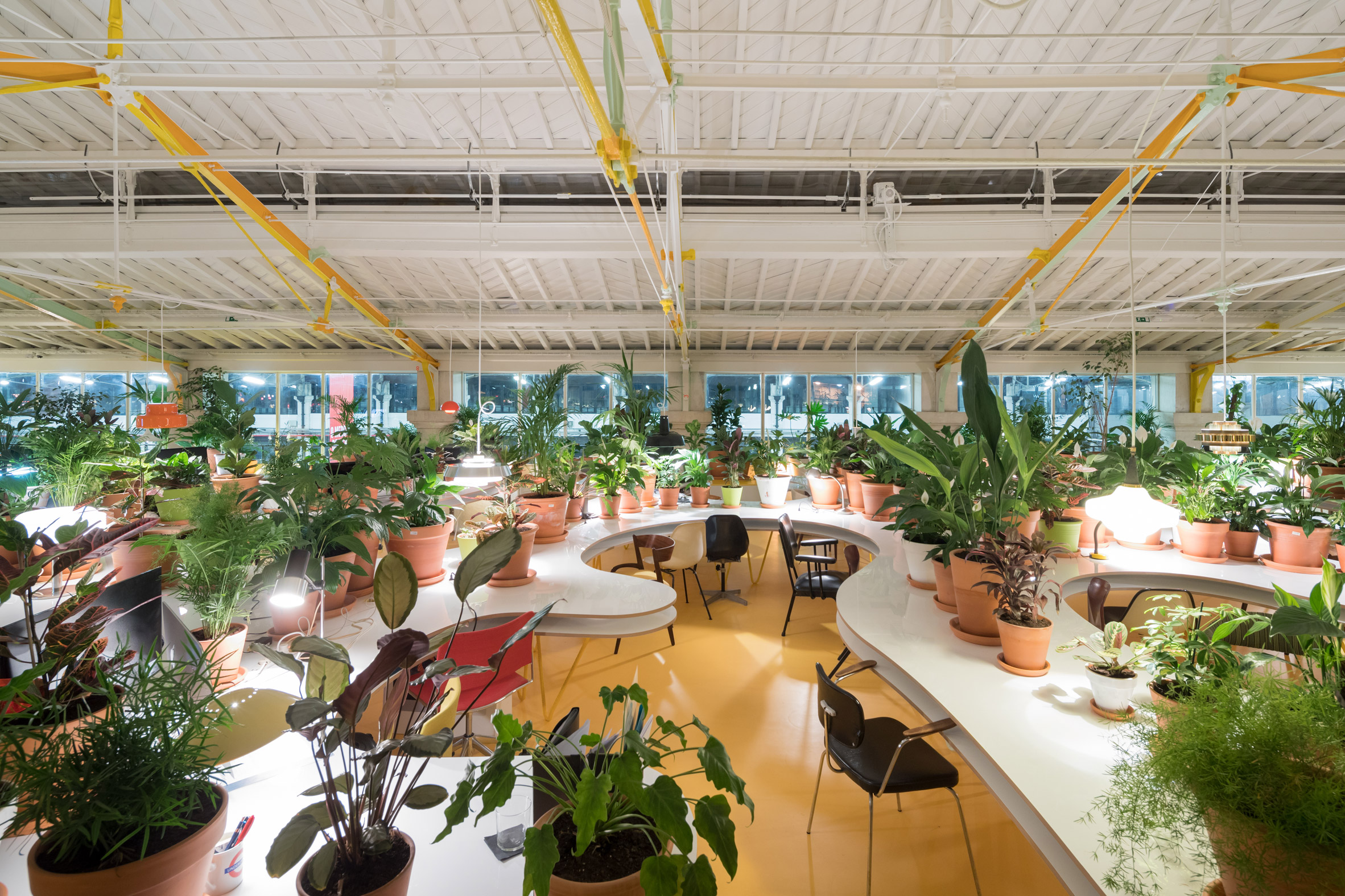 SelgasCano completes plant-filled co-working space inside Lisbon market hall for Second Home