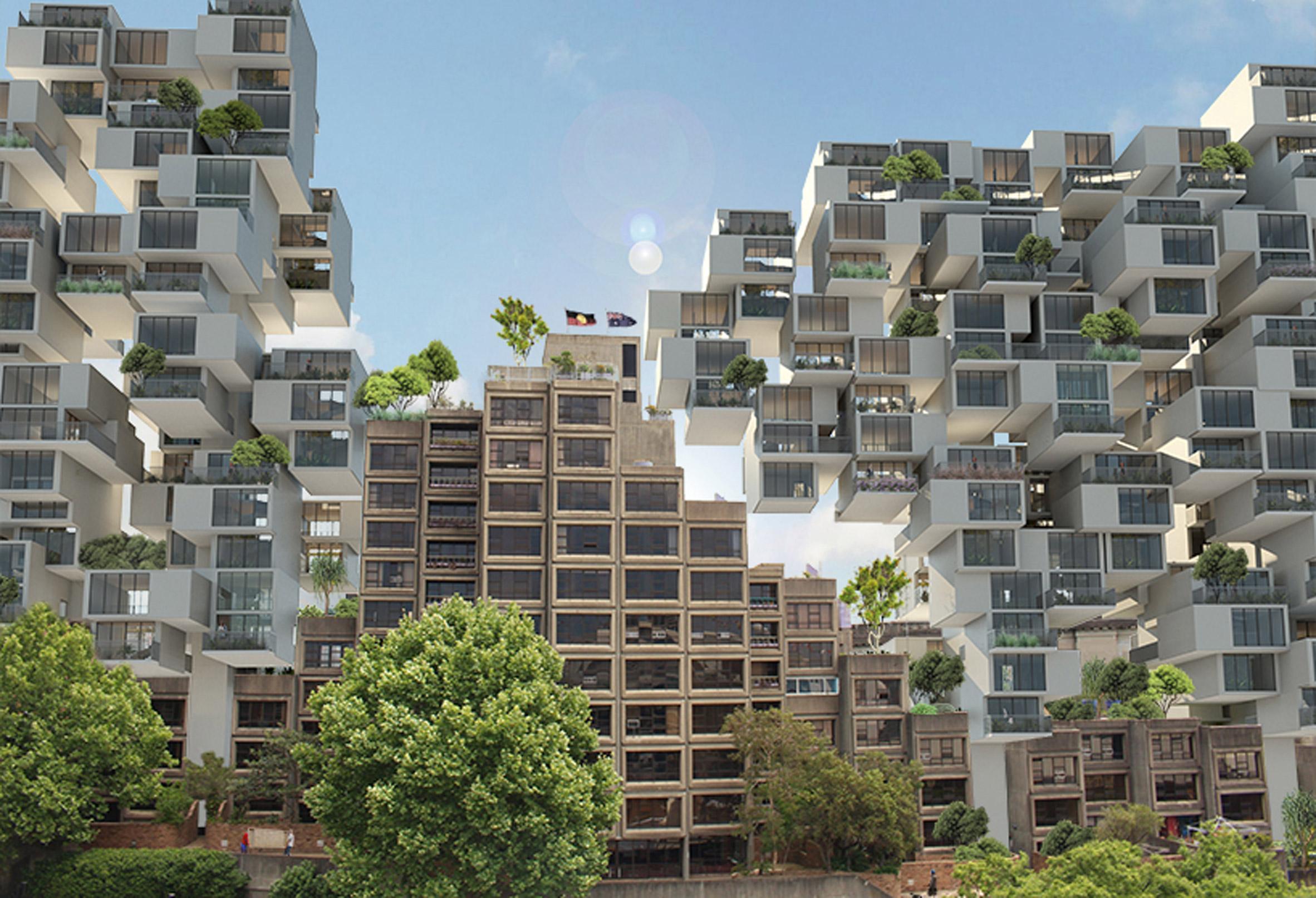 Safdie-esque extension proposed for Sydney's brutalist Sirius building