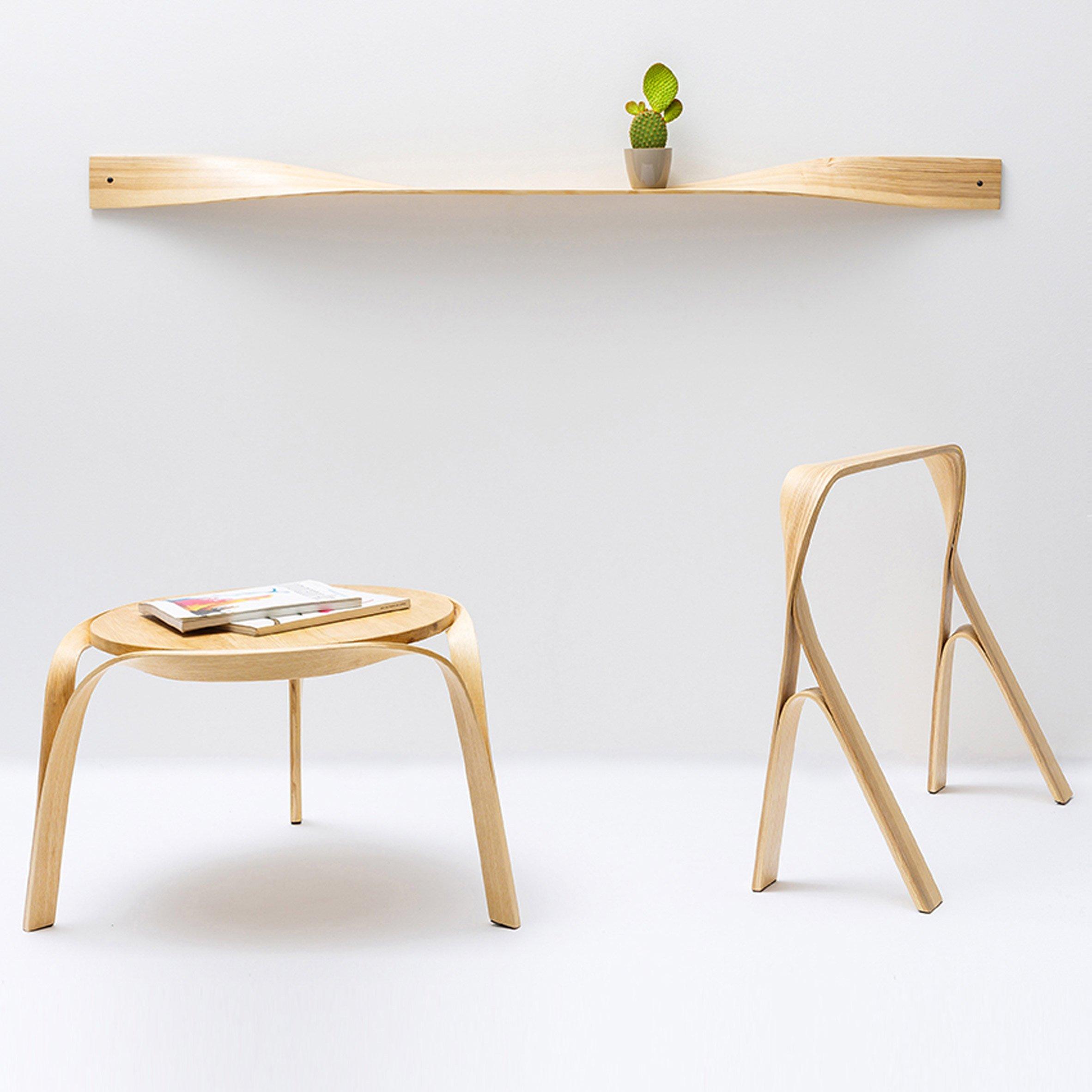 Bar Gantz uses steam-bending to create twisted wood furniture