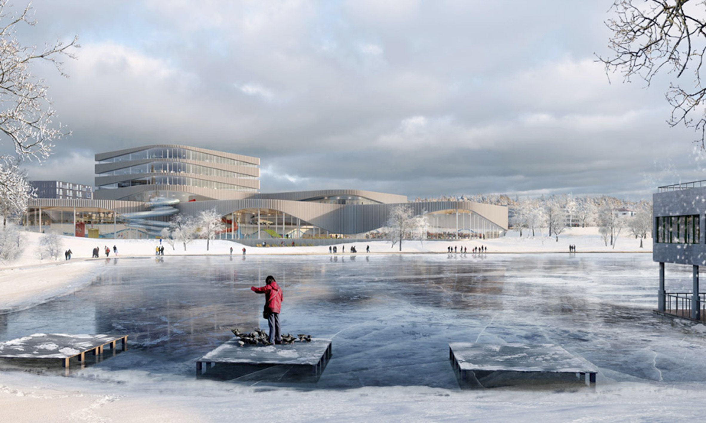 Wave-like facades wrap 3XN's aquatic centre in southern Sweden
