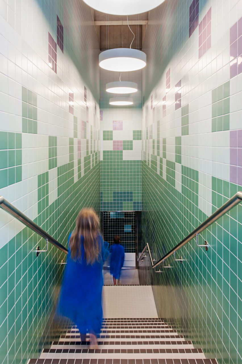 These Coloured Tiles, Which Are Intended To Reference The Hues Of A Shady,  Clear Lake U2013 Continue In Geometric Formations Across The Changing Room.