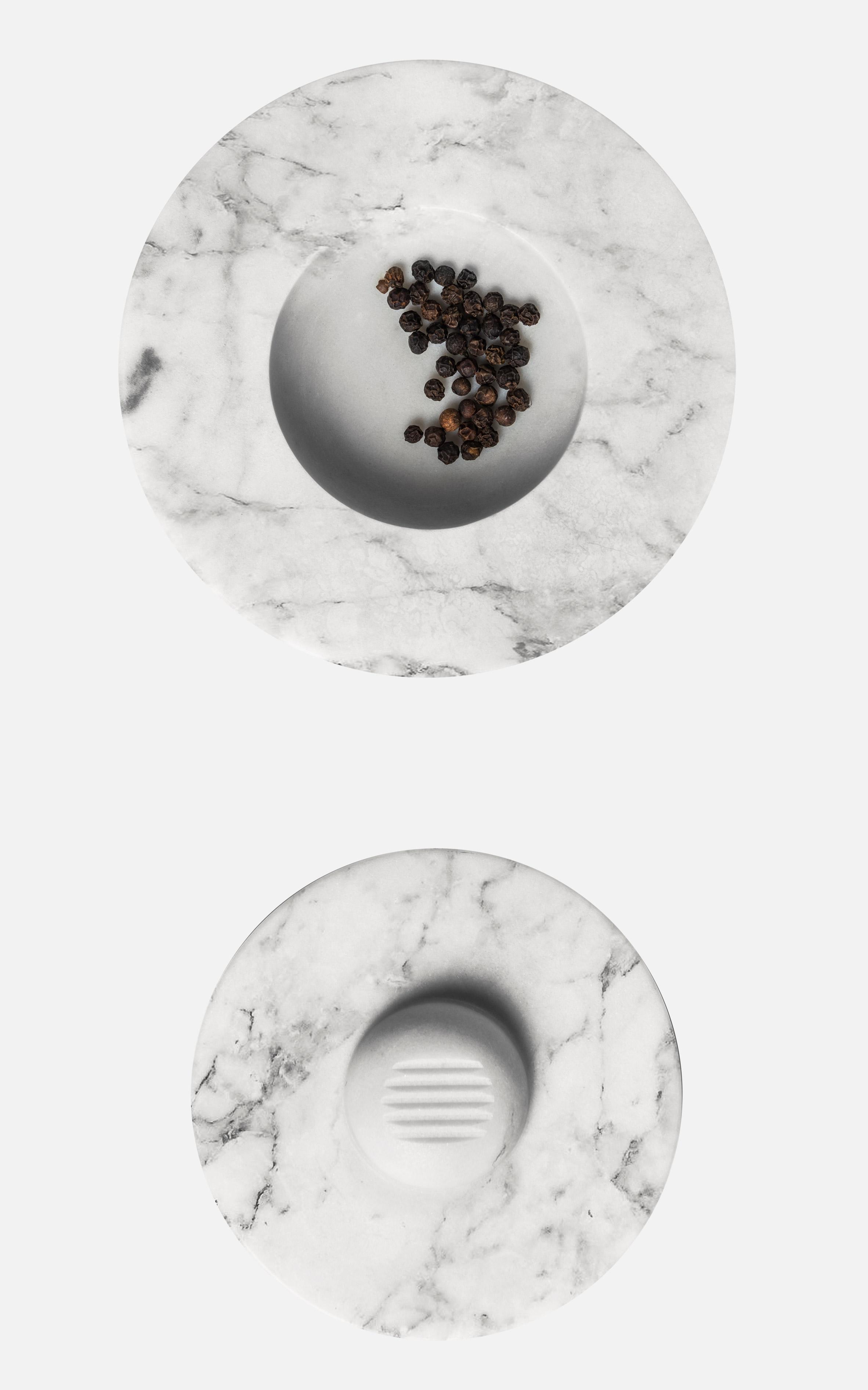 Mark Braun bases tabletop pestle and mortar on traditional millstones