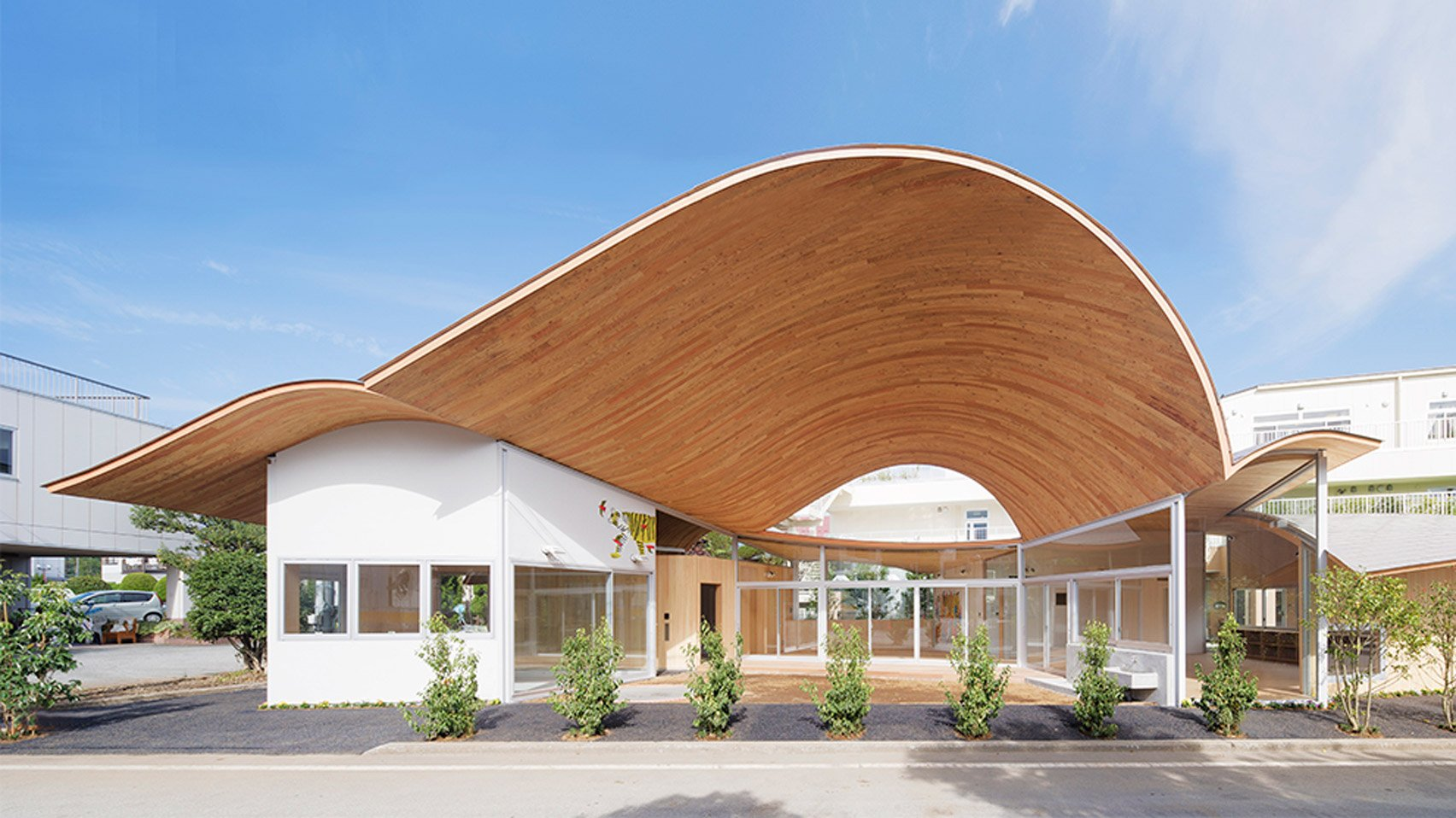 Takashige Yamashita Creates Nursery With Curving Timber Roof Near Mount Fuji