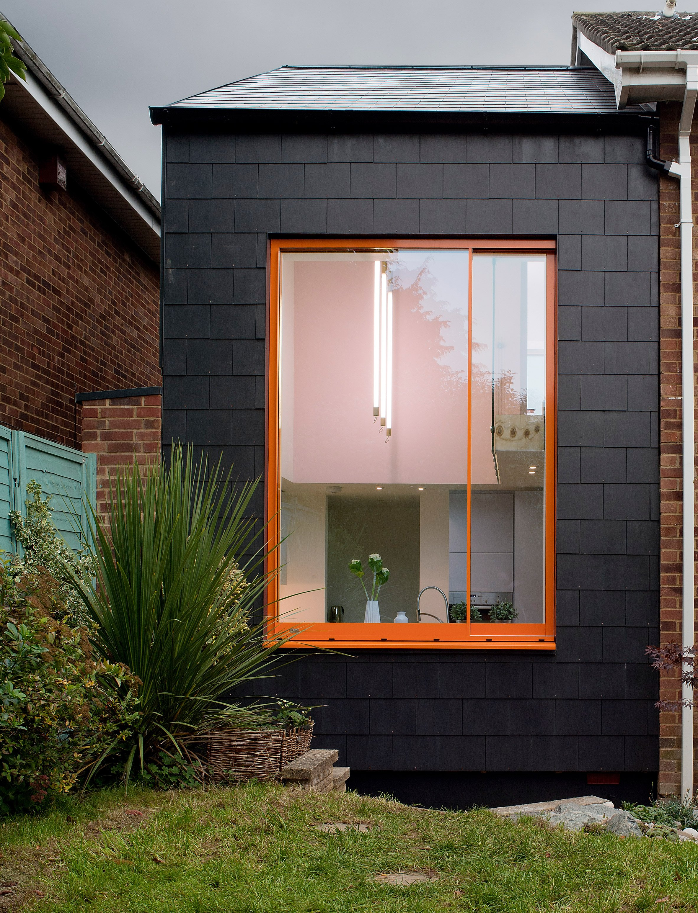 Lipton Plant's Ugly House is a 1970s property with a black and orange extension