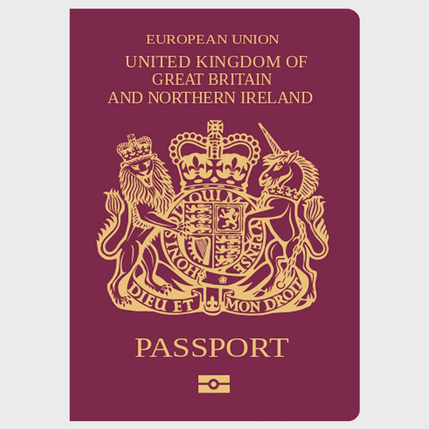 The current British passport with a burgundy soft cover
