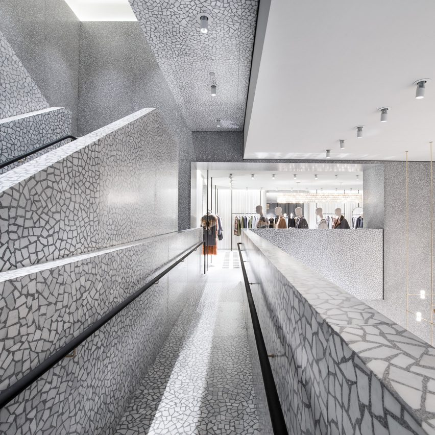 Valentino New York USA By David Chipperfield Grey Terrazzo Features Prominently Inside