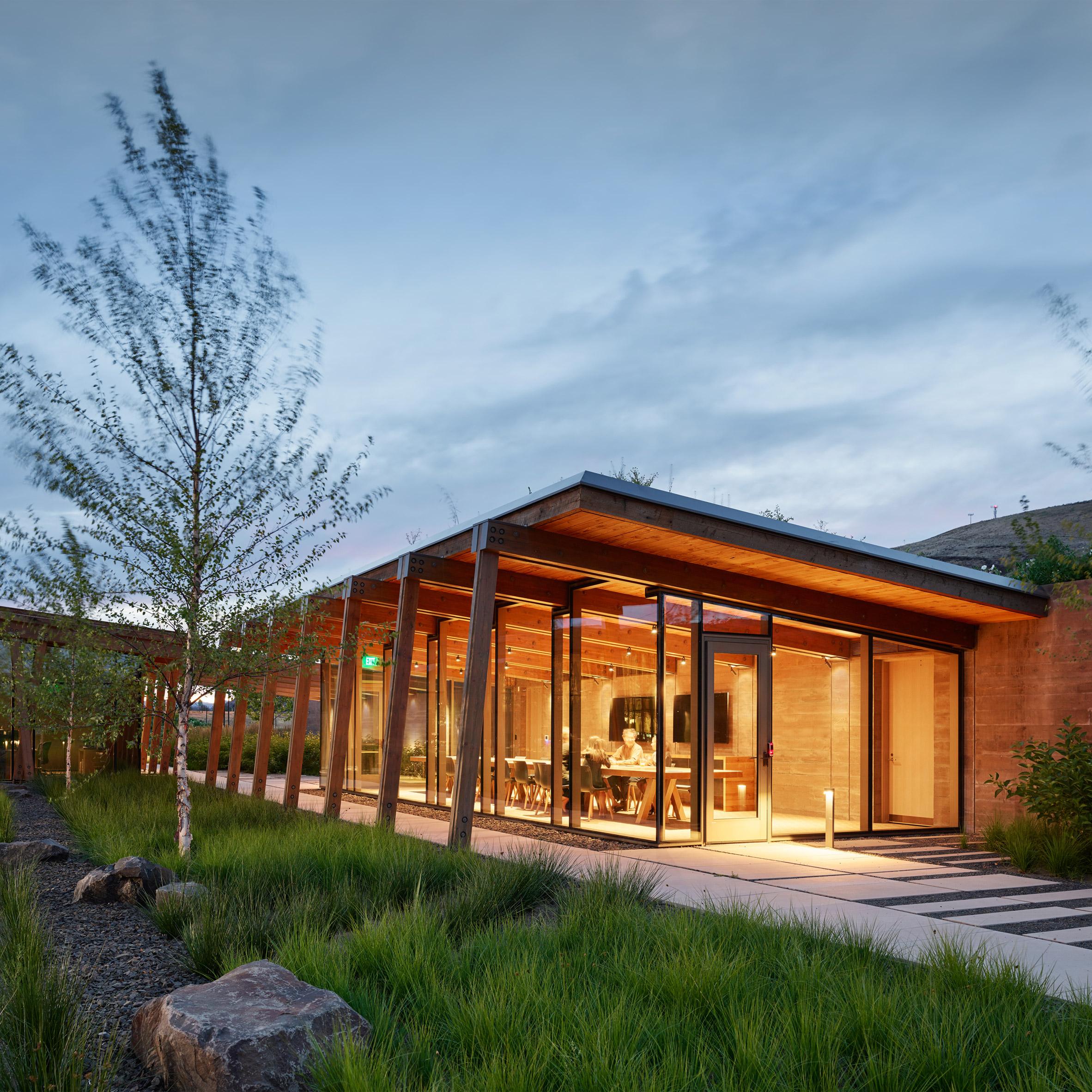 Exterior dusk view of Washington Fruit Produce HQ Graham Baba Architects