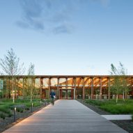 Exterior dusk view of Washington Fruit Produce HQ Graham Baba Architects