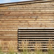 Detail wooden panelling of Washington Fruit Produce HQ Graham Baba Architects