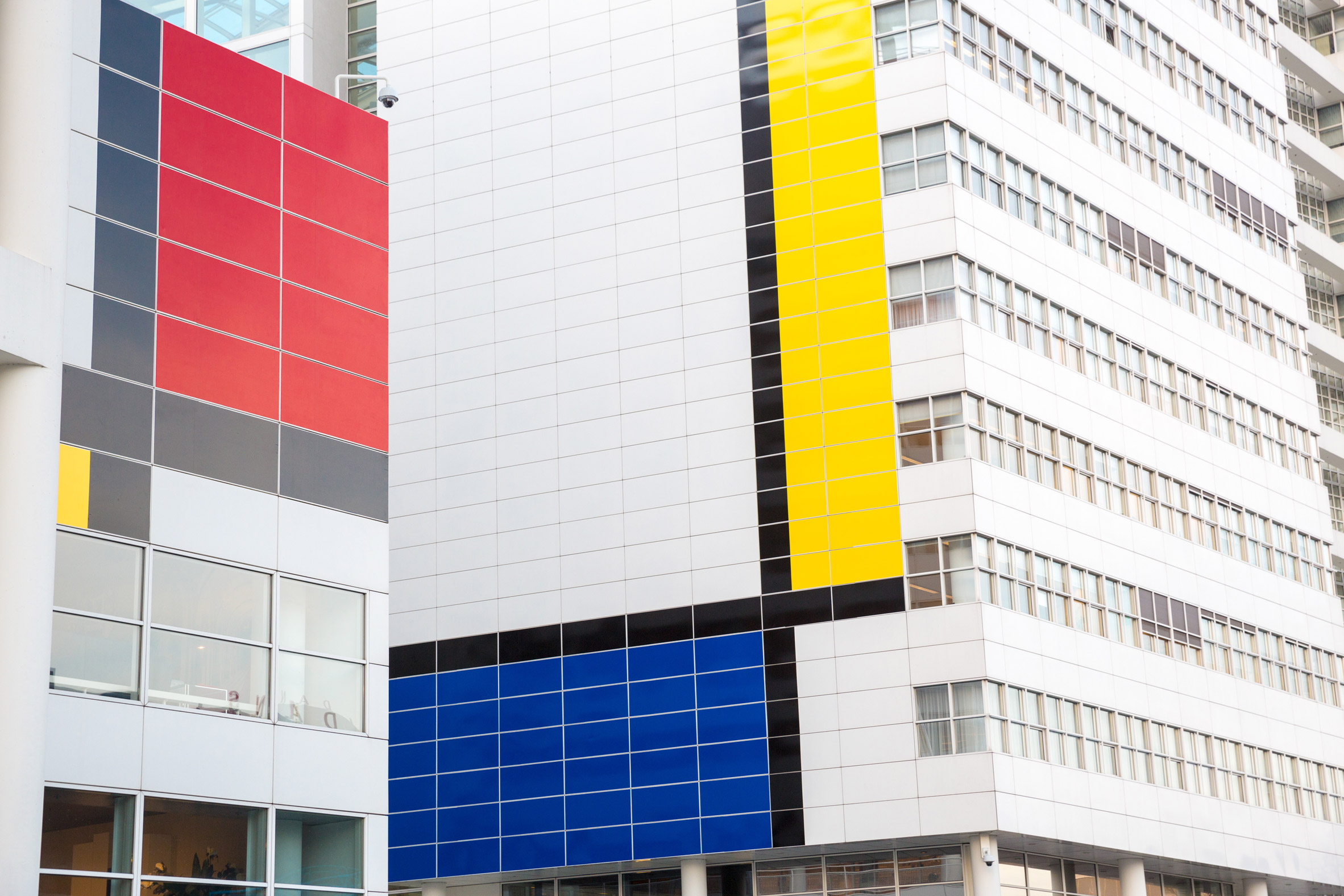 Mondrian-style paintwork covers Richard Meier's City Hall in The Hague