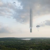 Supertall skyscraper hangs from orbiting asteroid in Clouds Architecture Office concept