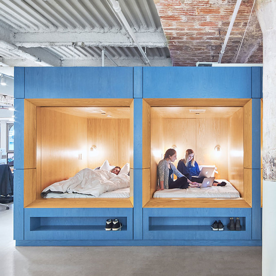 Cool Float Studio creates sleeping spaces at bedding pany us Manhattan offices