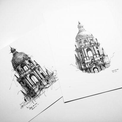 Dan Hogman's architectural sketches