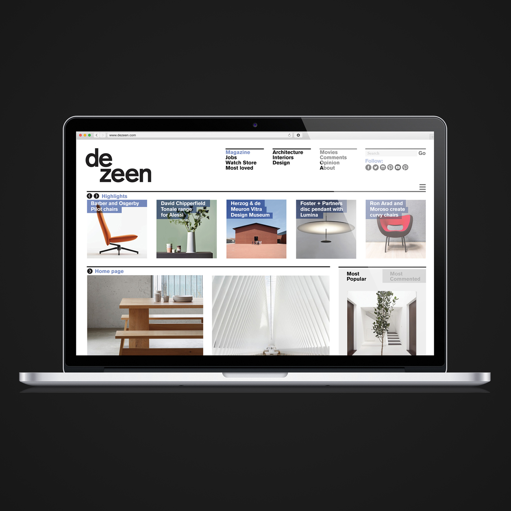 Dezeen shortlisted for six online publishing awards