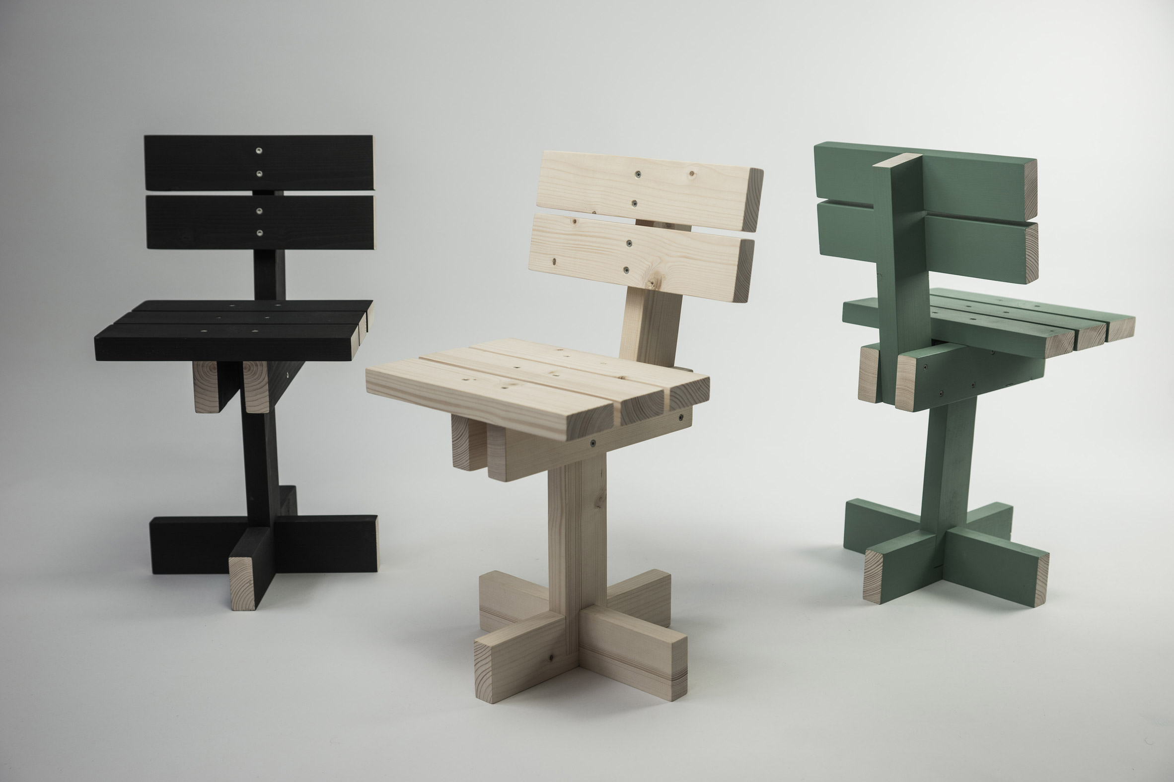 Hamaika kids' chair by Unai Rollan is assembled from 11 equal pieces