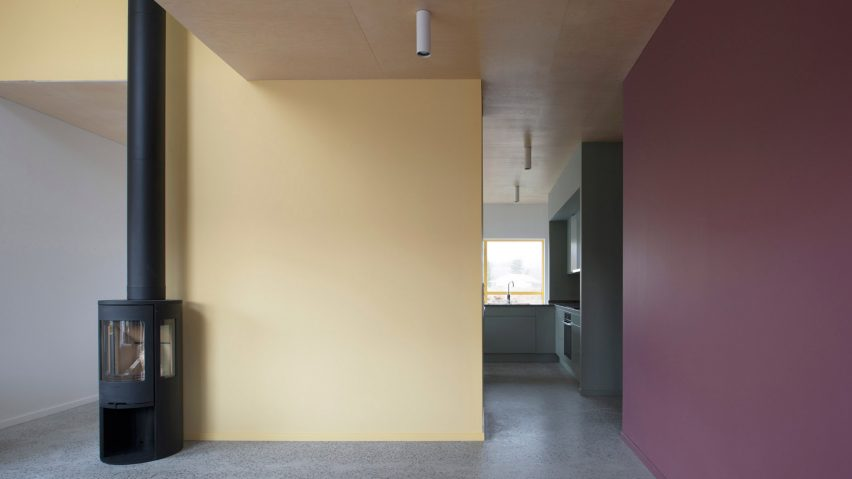 Bright Yellow Window Frames Puncture Pastel Grey Walls Of Stockholm Prefab