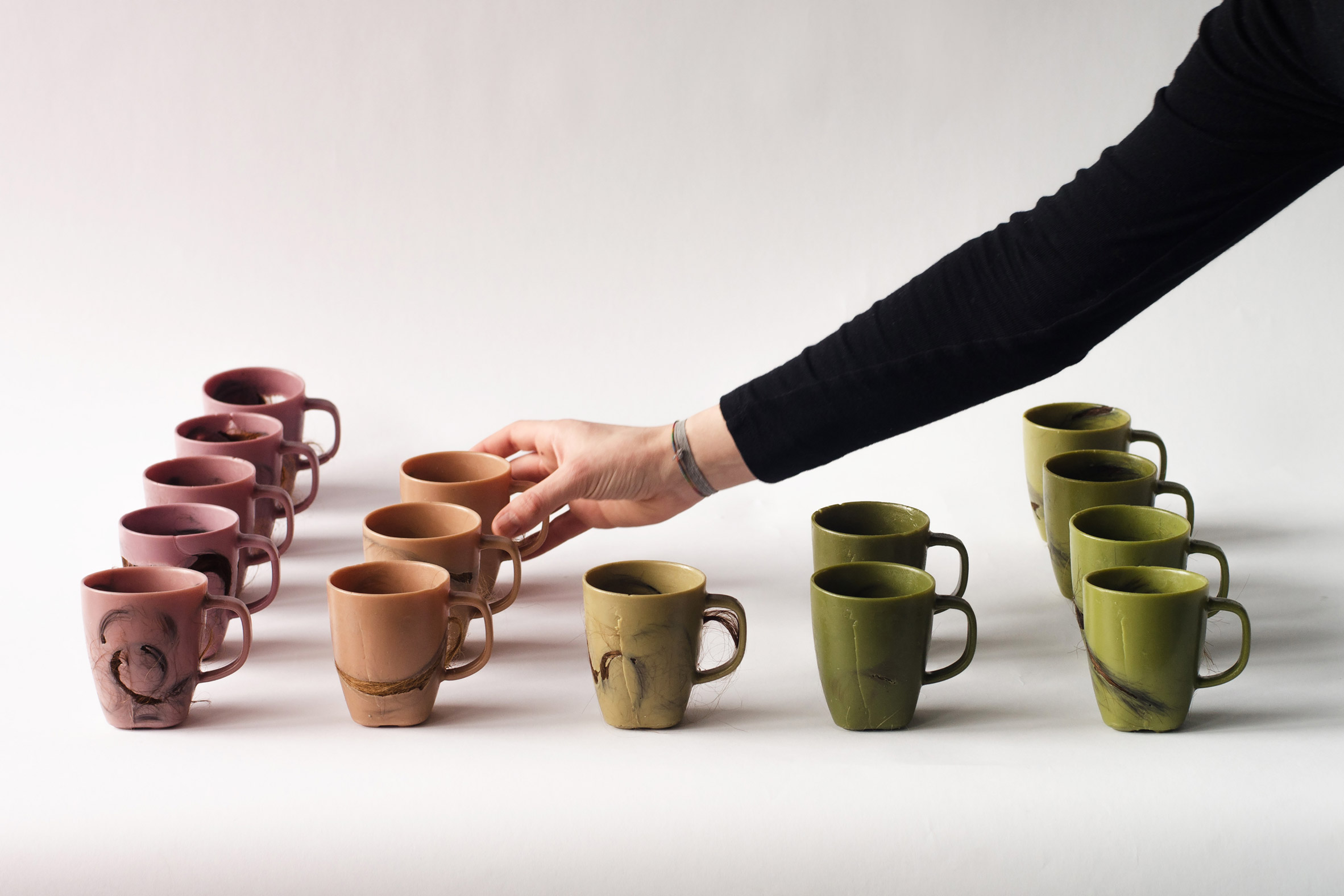 Krisztina Czika makes mugs using human hair and leg wax