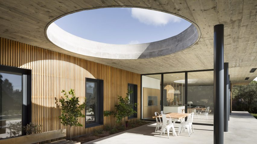 Attractive Huge Circular Skylight Punctures Terrace Canopy In South Of France House