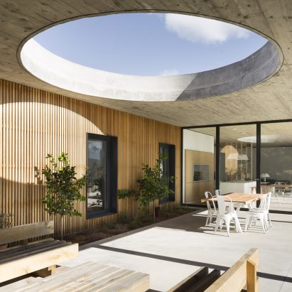 Huge Circular Skylight Punctures Terrace Canopy In South Of France House