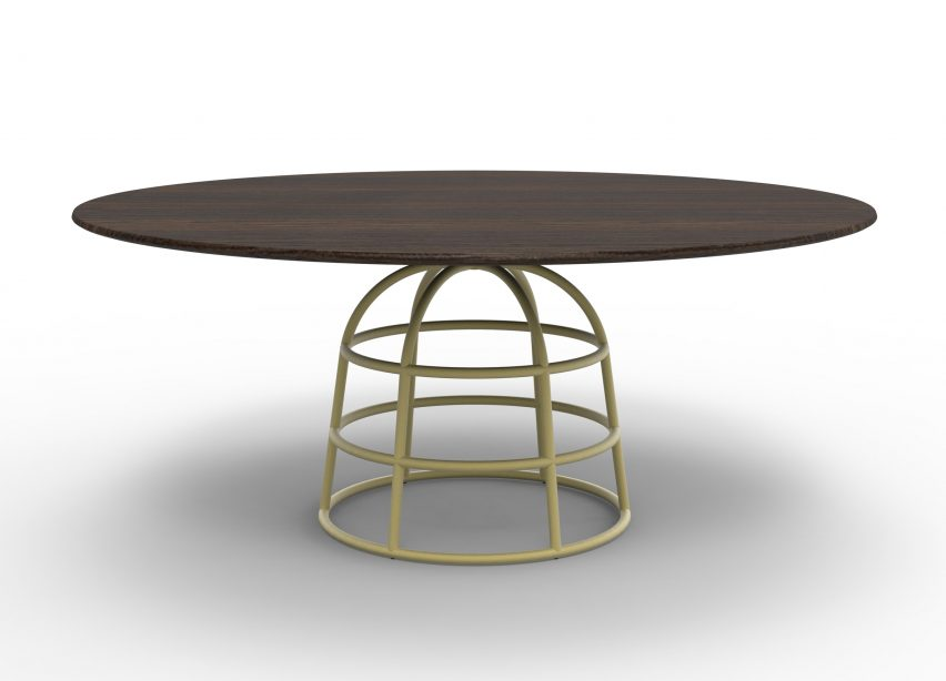 Alain Gilles\' Mass tables rest on wireframe-style metal bases