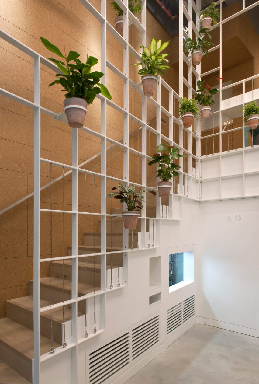 pot plants cover trellis-like walls inside london cafe