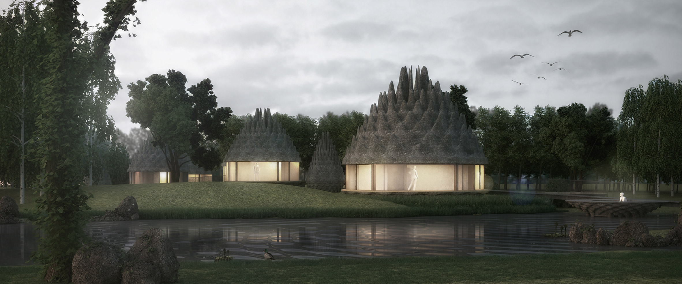 Inflatable pine cones top guesthouses and spa envisioned by 3Gatti Architecture Studio