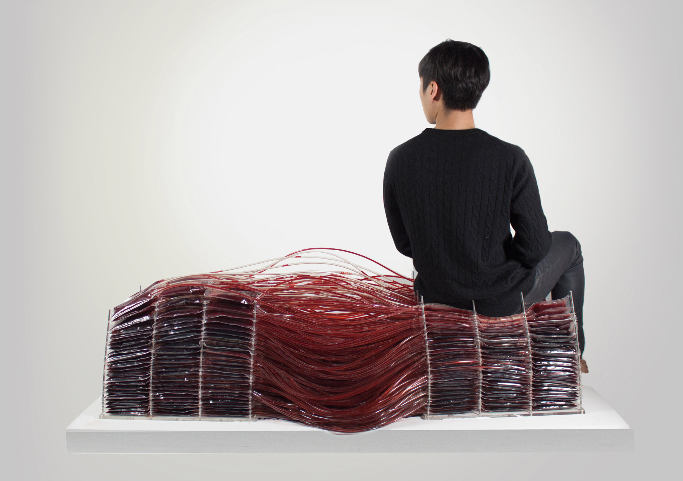 Hyun-Gi Kim's Red Series chair mimics the movement of blood around the body