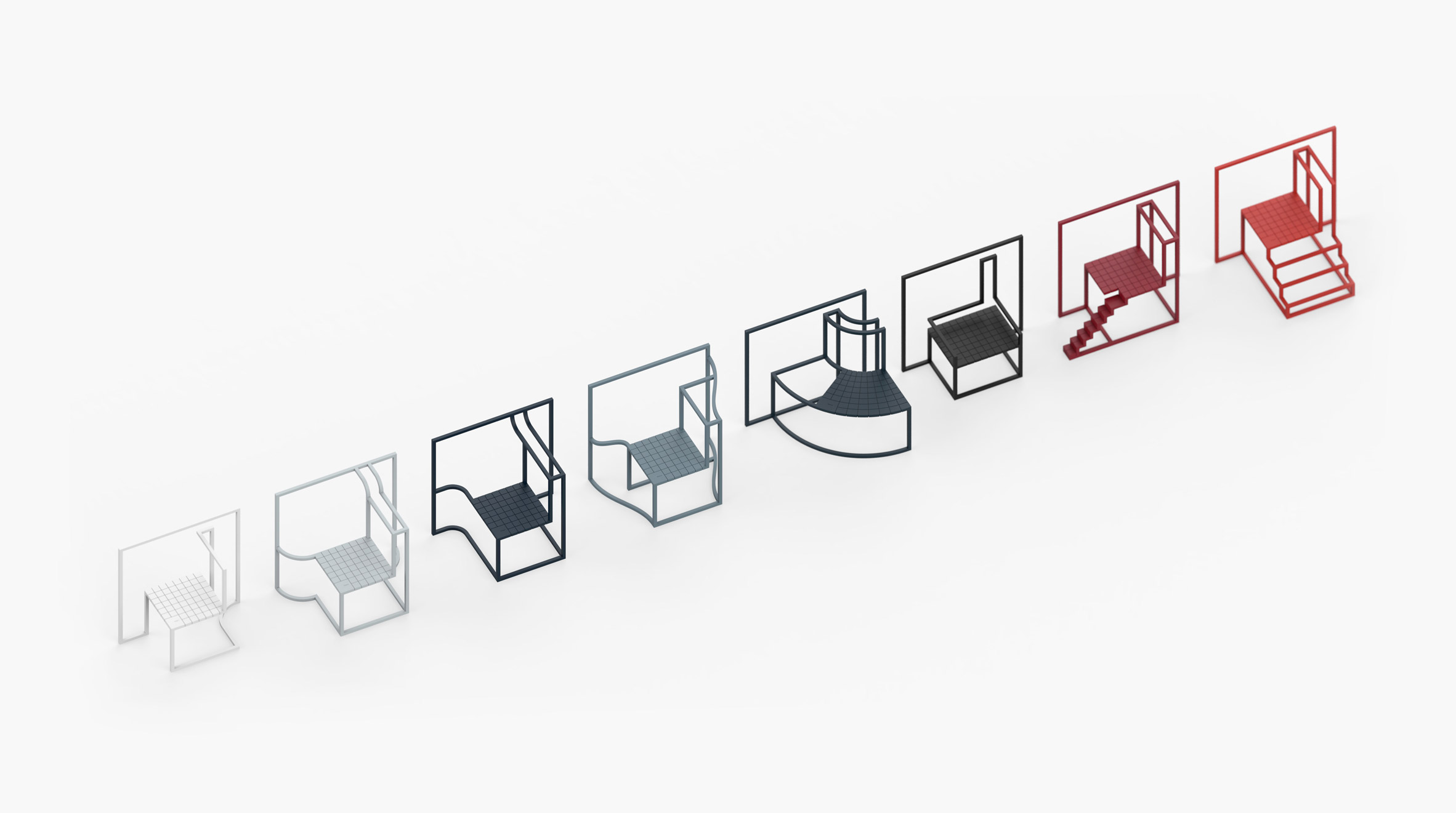 Andrea Ponti models chair series on Hong Kong's urban architecture