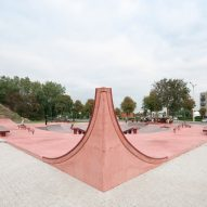 B-ILD and Constructo use shades of red concrete for skatepark on Belgian coast