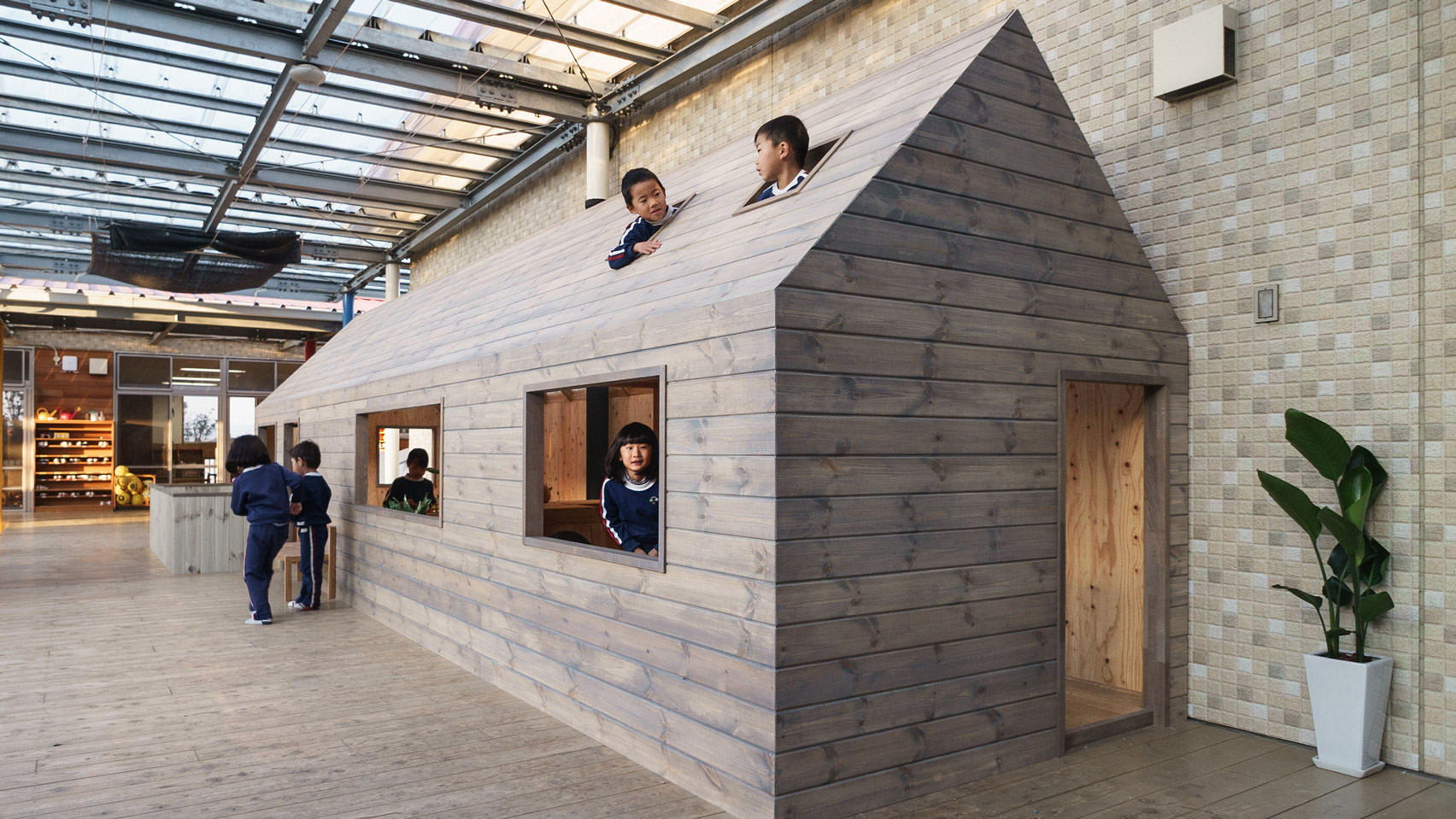 hibinosekkei installs micro house in japanese kindergarten to encourage independent play - Japanese Architecture Small Houses