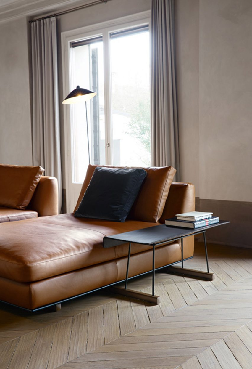Walter knoll to present sofa with integrated accessories at milan a tray made of solid wood and saddle leather can also slot in between the upholstered sections of the sofa parisarafo Gallery