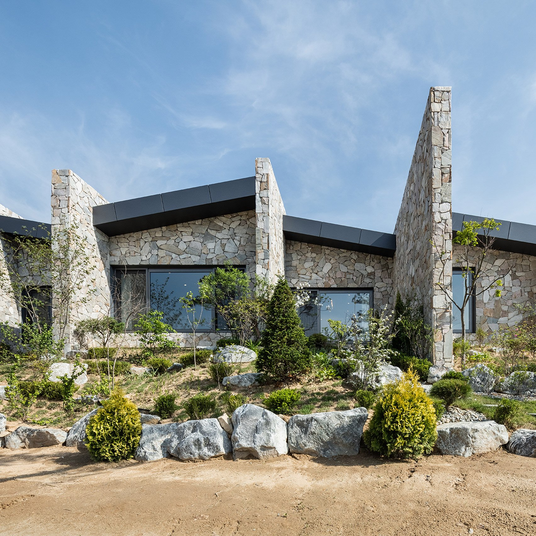 OBBA Designs Stone Walled Holiday Bungalow In Rural Seoul For An Elderly  Couple